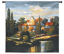 Autumn Memories by Max Hayslette | Woven Tapestry Wall Art Hanging | Tuscan Villa Landscape Waterfront at Sunset | 100% Cotton USA Size 31x31 Wall Tapestry