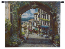 Arch de Cagnes by Sam Park | Woven Tapestry Wall Art Hanging | Picturesque French Coastal Village Alley | 100% Cotton USA Size 53x41 Wall Tapestry