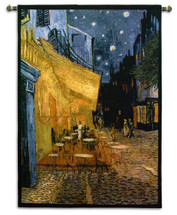 The Cafe Terrace On The Place Du Forum By Van Gogh | Woven Tapestry Wall Art Hanging | Post|Impressionist Masterpiece | 100% Cotton USA 53X38 Wall Tapestry