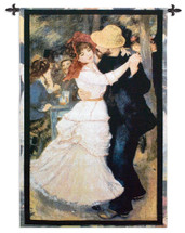 Dance At Bougival By Pierre Auguste Renoir | Woven Tapestry Wall Art Hanging | Impressionists Artwork Masterpiece Danse À Bougival | 100% Cotton USA 53X38 Wall Tapestry