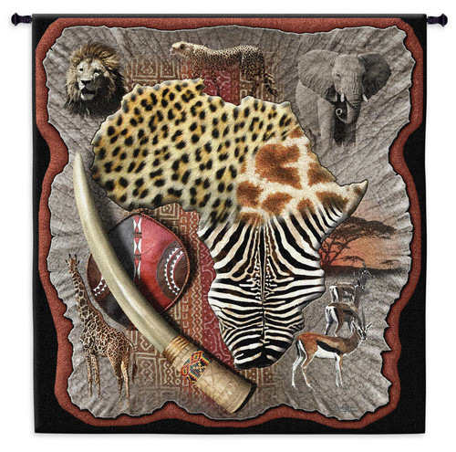 Africa - A Complex Colorful African Wildlife And Tribal Design Elements - Woven Tapestry Wall Art Hanging - 100% Cotton - USA 47X52 Wall Tapestry