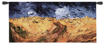Wheat Field with Crows by Vincent van Gogh | Woven Tapestry Wall Art Hanging | Impressionist Autumn Harvest Masterpiece | 100% Cotton USA Size 54x26 Wall Tapestry
