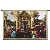 The Adoration of the Magi by Sandro Botticelli | Woven Tapestry Wall Art Hanging | Renaissance Art Worship of Jesus Christ Nativity | 100% Cotton USA Size 63x41 Wall Tapestry
