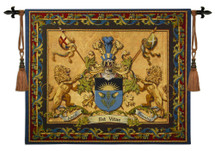 Love Strength Courage | Woven Tapestry Wall Art Hanging | Coat of Arms Royal Crest Amor Est Vitae Essentia | 100% Cotton USA Size 53X64 Wall Tapestry