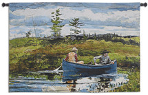 The Blue Boat By Winslow Homer - Woven Tapestry Wall Art Hanging For Home Living Room & Office Decor - American Realism Depicting A Quiet Pond With Fishermen Rowboat - 100% Cotton - USA 35X53 Wall Tapestry