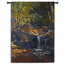 Thompson Cascade by Albert Bierstadt - Woven Tapestry Wall Art Hanging for Home & Office Decor - Gentle Waterfall Dappled In Afternoon Light Nature Landscape - 100% Cotton - USA 75X53 Wall Tapestry
