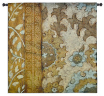 Gilded Sari By Chariklia Zarris   Woven Tapestry Wall Art Hanging   Global Floral Large Scale Motif Abstract   100% Cotton USA 52X53 Wall Tapestry