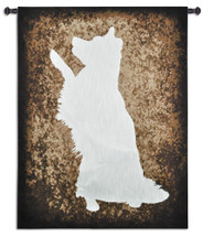 Obeying His Master - Woven Tapestry Wall Art Hanging For Home Living Room & Office Decor - Silhouetted Collie Lover'S Favorite Of A Dog In An Obedient Beg Pose - 100% Cotton - USA 53X40 Wall Tapestry