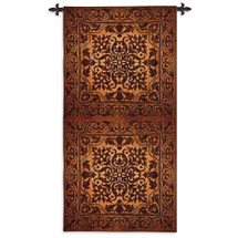 Double Iron Work Vertical | Woven Tapestry Wall Art Hanging | Bronze Gold Metallic Damask Pattern Metal Panels | 100% Cotton USA Size 105x53 Wall Tapestry