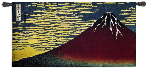 Red Fuji by Katsushika Hokusai | Woven Tapestry Wall Art Hanging | 'Thirty-Six Views Of Mount Fuji' Classic Japanese Woodblock Print | 100% Cotton USA Size 50x26 Wall Tapestry