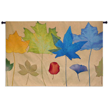 Leaf Dance III by Robert Mertens | Woven Tapestry Wall Art Hanging | Colorful Light Leaf Ensemble | 100% Cotton USA Size 79x53 Wall Tapestry