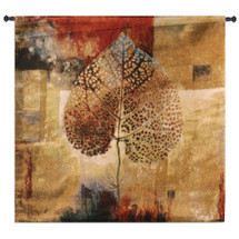 Abstract Autumn Extra By Jae Dougall - Woven Tapestry Wall Art Hanging For Home Living Room & Office Decor - Fall Season Warm Color Maple Leaf Branches Featured - 100% Cotton - USA 64X64 Wall Tapestry