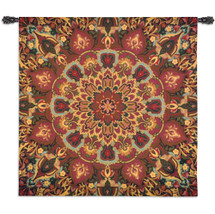Rangoli Caramel | Woven Tapestry Wall Art Hanging | Decorative Kolam Muggu India Folk Design with Kaleidoscope Medallion Patterns | 100% Cotton USA Size 53x53 Wall Tapestry
