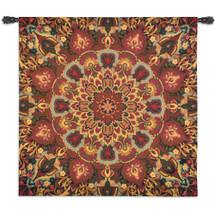 Rangoli Caramel | Woven Tapestry Wall Art Hanging | Decorative Kolam Muggu India Folk Design with Kaleidoscope Medallion Patterns | 100% Cotton USA Size 53x53 Wall Tapestry