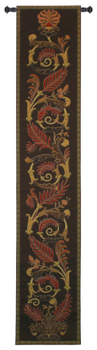 Ascendance Dusk Long | Woven Tapestry Wall Art Hanging | Tropical Themed Vine and Fern Feathered Totem | 100% Cotton USA Size 87x16 Wall Tapestry