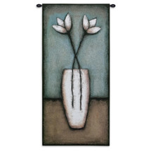 Water Blossoms I by Eve | Woven Tapestry Wall Art Hanging | Abstract Minimalist Floral White Vase | 100% Cotton USA Size 53x27 Wall Tapestry