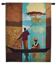 On the River I by Keith Mallett | Woven Tapestry Wall Art Hanging | Riverboat Scene on Abstract African Landscape | 100% Cotton USA Size 63x47 Wall Tapestry