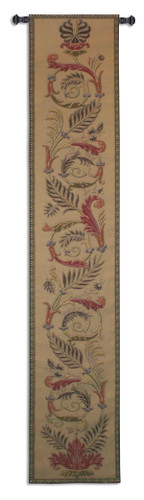 Ascendance Dawn Long | Woven Tapestry Wall Art Hanging | Tropical Themed Vine and Fern Feathered Totem | 100% Cotton USA Size 87x16 Wall Tapestry