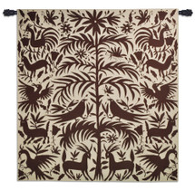 Otomi Earth | Woven Tapestry Wall Art Hanging | Traditional Mexican Silhouette Nature Artwork | 100% Cotton USA Size 58x53 Wall Tapestry