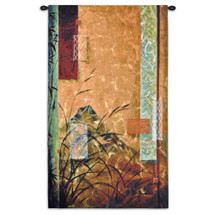 Volcano Bamboo by Don Li-Leger | Woven Tapestry Wall Art Hanging | Abstract Asian Fusion Bright Bamboo Geometry | 100% Cotton USA Size 53x31 Wall Tapestry