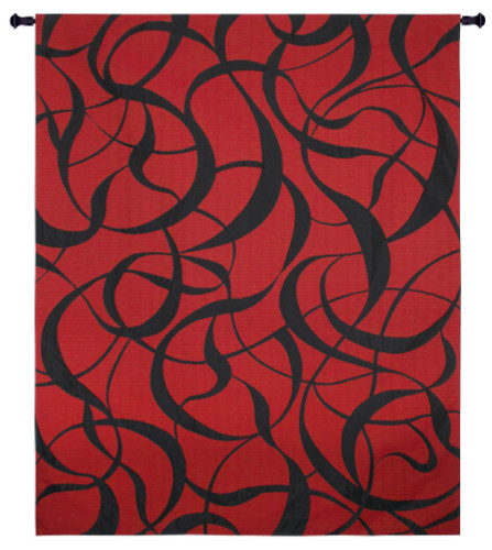 Twists and Turns Fireball   Woven Tapestry Wall Art Hanging   Fierce Red and Black Swirling Pattern   100% Cotton USA Size 63x52 Wall Tapestry