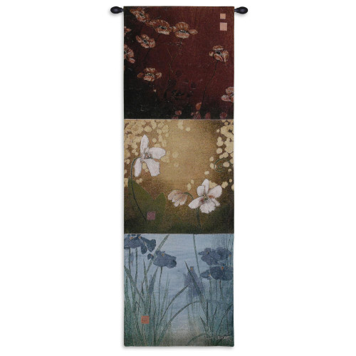 Aura by Don Li-Leger | Woven Tapestry Wall Art Hanging | Asian Fusion Contemporary Floral Panels | 100% Cotton USA Size 53x18 Wall Tapestry