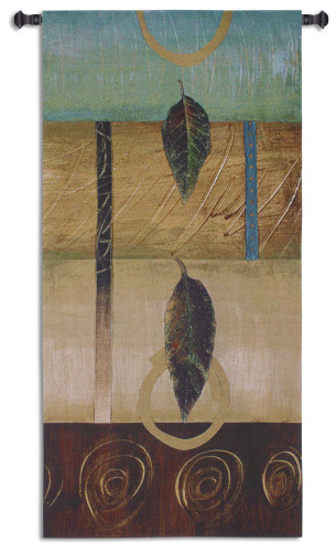 Free Fall II | Woven Tapestry Wall Art Hanging | Contemporary Leaf Composition Vertical Artwork | 100% Cotton USA Size 63x29 Wall Tapestry
