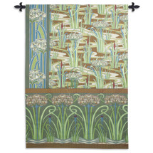 Spring Garden | Woven Tapestry Wall Art Hanging | Vibrant Contemporary Green Botanical Design | 100% Cotton USA Size 75x53 Wall Tapestry