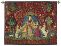 "The Lady And The Unicorn Desire - Historic Reproduction Masterpiece - ""The Hunt Of The Unicorn"" - Comprised Of 6 Monumental Woven Tapestries Wall Art Hanging For Home Living Room & Office Decor - 100% Cotton - USA 35X35 Wall Tapestry"