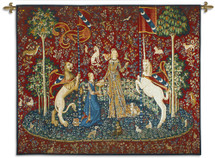 "The Lady And The Unicorn Taste - Historic Reproduction Masterpiece - ""The Hunt Of The Unicorn"" - Comprised Of 6 Monumental Woven Tapestries Wall Art Hanging For Home Living Room & Office Decor - 100% Cotton - USA 51X62 Wall Tapestry"