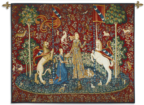 The Lady and The Unicorn – Taste | Woven Tapestry Wall Art Hanging | Historic Middle Ages Tapestry Reproduction | 100% Cotton USA Size 62x51 Wall Tapestry