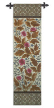 Needlepoint Anemone | Woven Tapestry Wall Art Hanging | Sweet Pink Blossoms Intricate Woven Pattern | 100% Cotton USA Size 77x20 Wall Tapestry