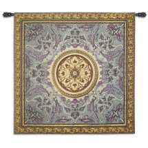 Violaceous Beauty | Woven Tapestry Wall Art Hanging | Intricate Floral Design with Golden Orb Centerpiece | 100% Cotton USA Size 52x52 Wall Tapestry