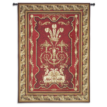 Sovereign | Woven Tapestry Wall Art Hanging | Royal Luxurious Archectural Design in Deep Crimson and Gold | 100% Cotton USA Size 117x85 Wall Tapestry
