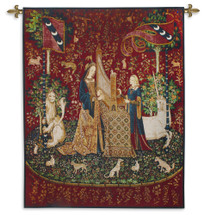 The Lady And The Unicorn Hearing By - Woven Tapestry Wall Art Hanging For Home Living Room & Office Decor - French: La Dame À La Licorne) Series Of Six Flemish Tapestries - 100% Cotton - USA 65X53 Wall Tapestry