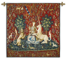 The Lady and The Unicorn - Sight | Woven Tapestry Wall Art Hanging | Historic Middle Ages Tapestry Reproduction | 100% Cotton USA Size 53x48 Wall Tapestry