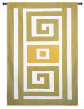 Meander | Woven Tapestry Wall Art Hanging | Modern Minimalist Spiral Pattern in Subtle Greens and Gold | 100% Cotton USA Size 75x52 Wall Tapestry
