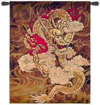 Golden Dragon by Brad Simpson - Woven Tapestry Wall Art Hanging for Home & Office Decor - Traditional Chinese Dragon Asian Wall Decor Reds Deep Browns Lush Gold Tones - 100% Cotton - USA 67X53 Wall Tapestry