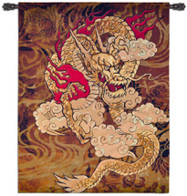 Golden Dragon By Brad Simpson  - Woven Tapestry Wall Art Hanging For Home Living Room & Office Decor - Traditional Chinese Dragon Asian Wall Decor Reds Deep Browns Lush Gold Tones - 100% Cotton - USA 67X53 Wall Tapestry