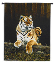 Grandeur by Paul James | Woven Tapestry Wall Art Hanging | Majestic Bengal Tiger Lounging | 100% Cotton USA Size 66x52 Wall Tapestry