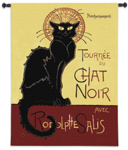 Tournee Chat by Theophile Steinlen | Woven Tapestry Wall Art Hanging | Vintage Parisian Nightclub Poster Advertisement with Black Cat | 100% Cotton USA Size 53x38 Wall Tapestry