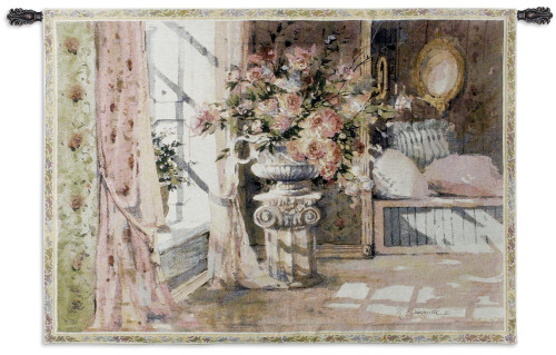 Romantic Moments   Woven Tapestry Wall Art Hanging   Luxurious English Bedromm with Blooming Floral Centerpiece   100% Cotton USA Size 51x35 Wall Tapestry