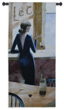 Le Cafe by Miguel Dominguez | Woven Tapestry Wall Art Hanging | Vintage Svelte Woman in Black Dress Bar Lounge Artwork | 100% Cotton USA Size 53x24 Wall Tapestry