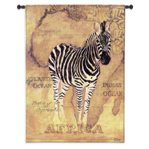 African Voyage II by Gosia Gajewska | Woven Tapestry Wall Art Hanging | Zebra over African Continent in Earth Tones | 100% Cotton USA Size 53x38 Wall Tapestry