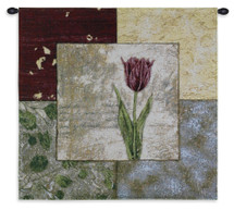 Seasons IV by Kimberly Baker Jovovich | Woven Tapestry Wall Art Hanging | Contemporary Lithograph Floral Collage | 100% Cotton USA Size 25x25 Wall Tapestry
