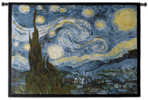 Starry Night by Vincent van Gogh | Woven Tapestry Wall Art Hanging | Post-Impressionist Masterpiece of Saint-Remy-de-Provence Abstract Landscape | 100% Cotton USA Size 53x40 Wall Tapestry