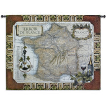 French Wine Country | Woven Tapestry Wall Art Hanging | Vineyard Locations on Vintage French Map | 100% Cotton USA Size 53x42 Wall Tapestry