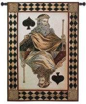 King of Spades | Woven Tapestry Wall Art Hanging | King Of Spades Card Poker Game Room Artwork | 100% Cotton USA Size 53x38 Wall Tapestry
