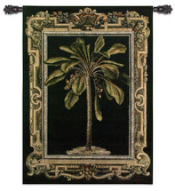 Masterpiece Palm I | Woven Tapestry Wall Art Hanging | Coconut Palm on Black with Elaborate Border | 100% Cotton USA Size 53x38 Wall Tapestry