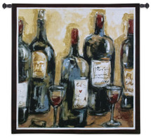 Wine Bar | Woven Tapestry Wall Art Hanging | Impressionist Wine Bottles Still Life | 100% Cotton USA Size 53x53 Wall Tapestry